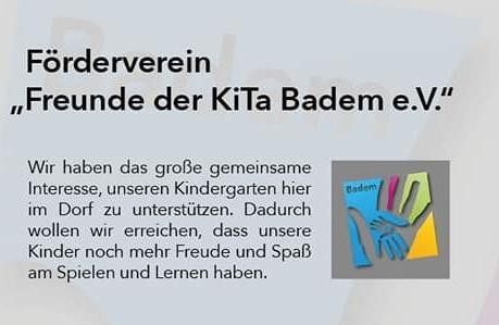 """Unterstützung Fördervereins """"Freunde der KiTa Badem e.V."""""""